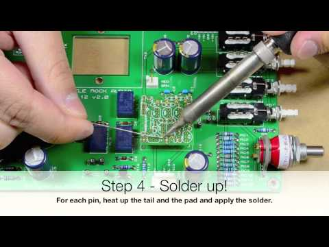 Installing the pins on a discrete op-amp PCB