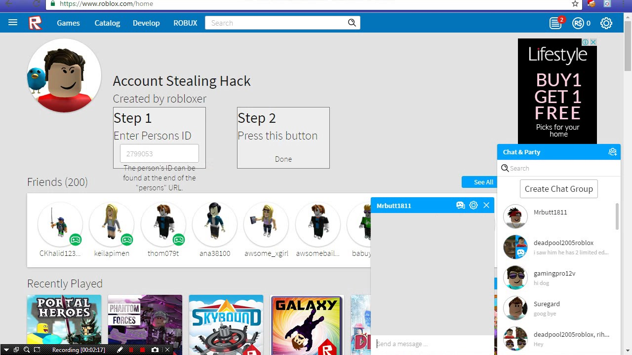 Roblox How To Steal Hack Accounts To Get Free Robux 2016