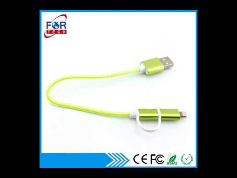 China Bulk Colorful 2in1 USB Cable from Shenzhen Wholesalers
