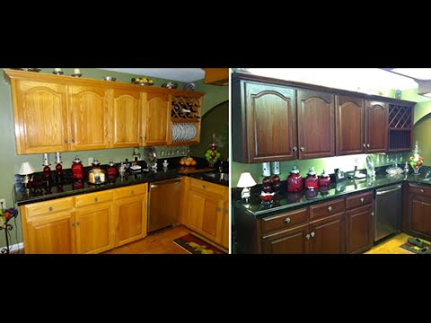 how to do it yourself kitchen cabinet color change no stripping and cheap refinishing youtube. Black Bedroom Furniture Sets. Home Design Ideas