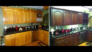 How To Do It Yourself Kitchen Cabinet Color Change No Stripping And Cheap Refinishing!