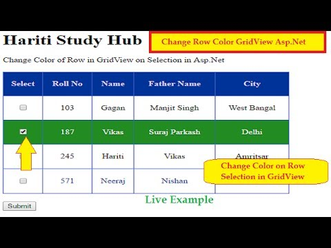 How to change GridView Selected Row Color in ASP Net C# | Hindi | Tutorial  Classes in Hindi