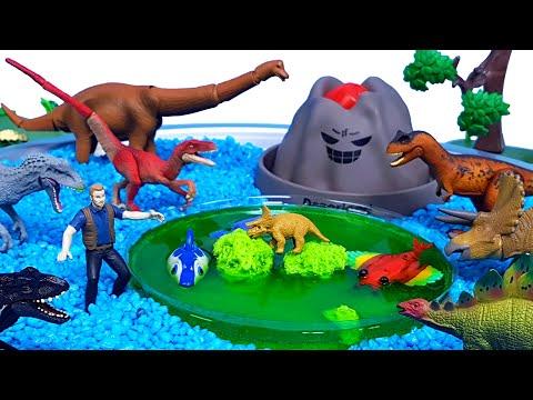 쥬라기월드 공룡 애니미멀다이노 볼케이노 화산섬 공룡메카드 공룡 장난감 화산폭발 모래놀이