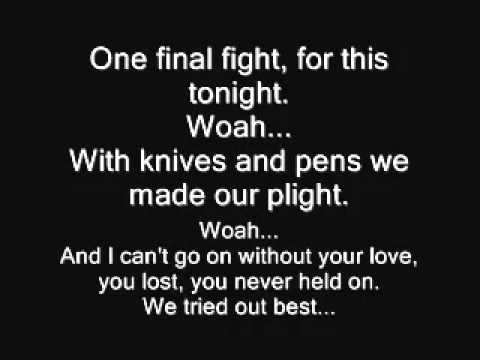 Black Veil Brides  Knives and Pens Lyrics HD