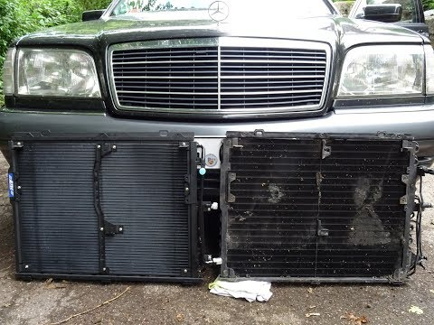 Замена радиатора кондиционера. Gena W140