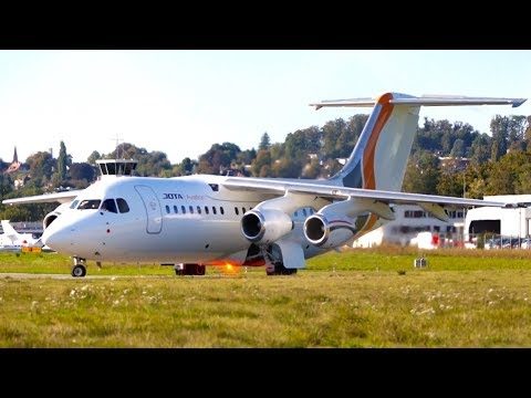 British Aerospace BAe 146-200 Jota Aviation Take-Off at Bern