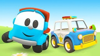 Leo the truck & kids vehicles: A police car cartoon & a garbage truck for kids