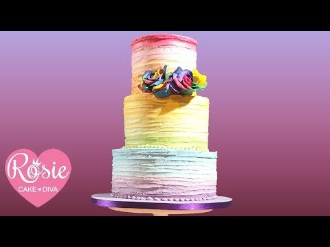 Rainbow Ruffle Cake   Detailed