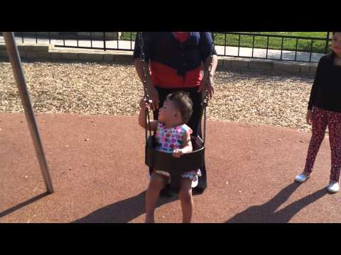 Gianna swinging her first time