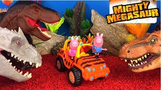 ADVENTURE WHEELS MIGHTY MEGASAUR T-REX DINOSAUR WITH LIGHTS SOUNDS ACTION PEPPA PIG GEORGE ON SAFARI
