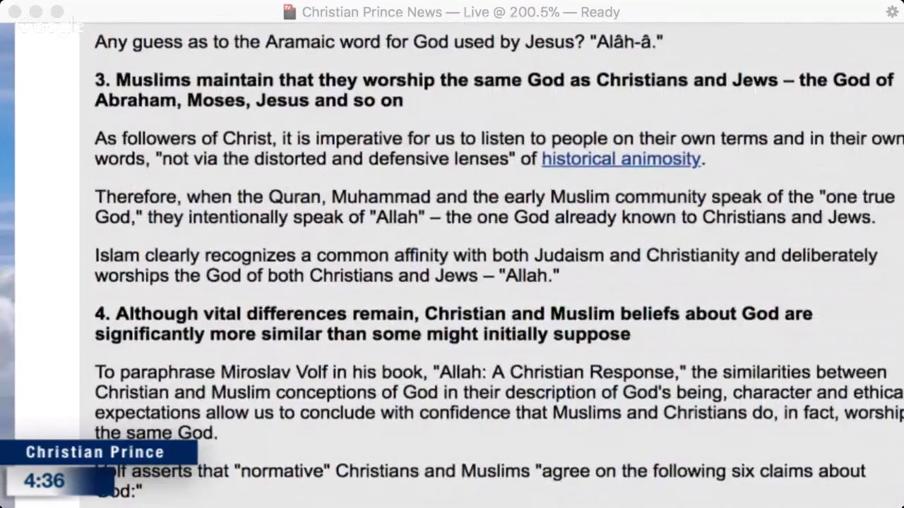 Christian Prince Why Allah is the True god for Muslims the