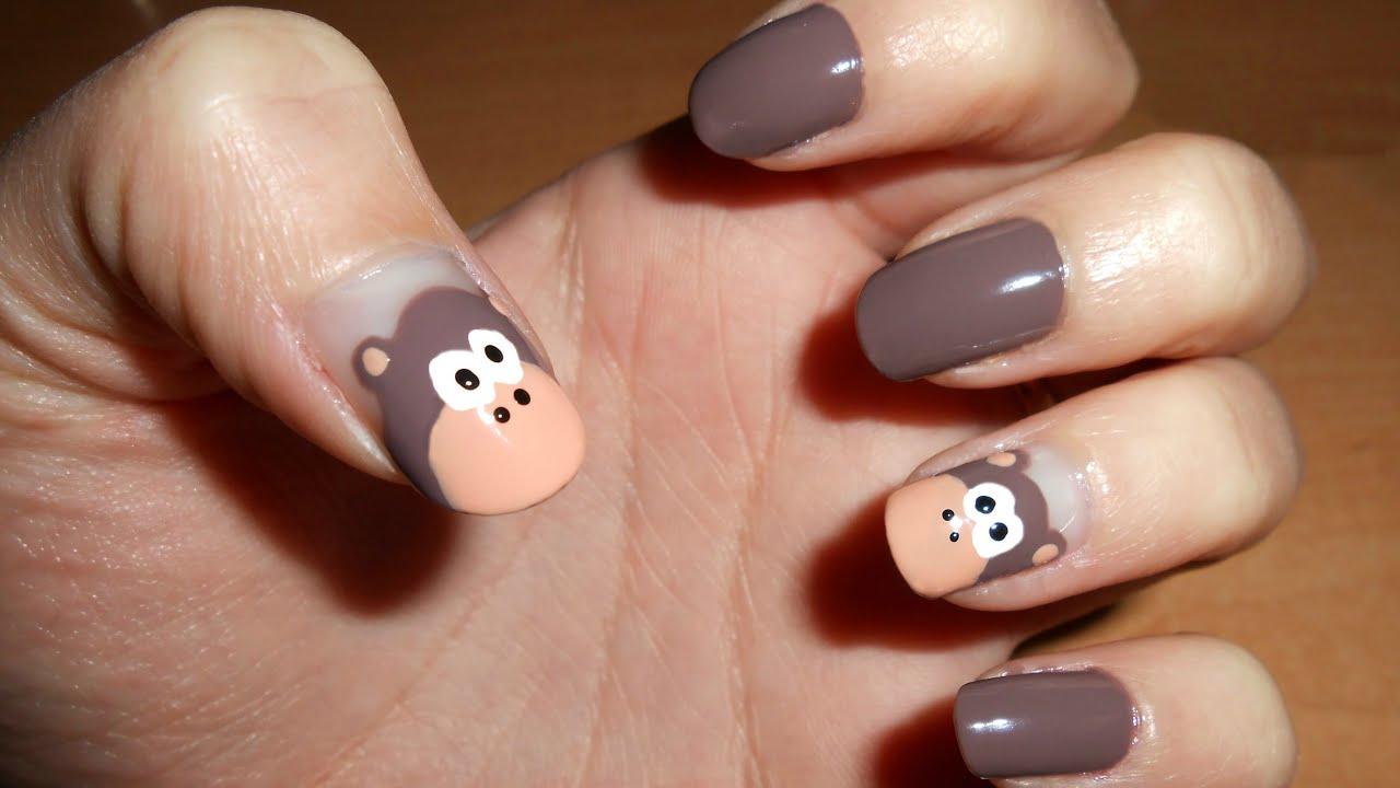 Uñas con monos | CristiNails - YouTube