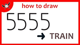 How To Turn Numbers 5555 into Cartoon TRAIN  – Learn Doodle Art on Paper for Kids ✔