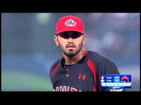 Canada vs Taiwan 2015 WBSC Premier 12 Baseball Jasvir Rakkar Clutch
