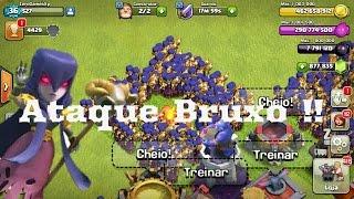 O Ataque Bruxo,356 Bruxas Destrói Um Cv 11? Clash of Clans #Desafio