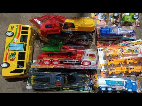 Unboxing Mainan Mobil Truk Mixer Molen Semen, Excavator Besar, Traktor, Truk Tronton, Truk pasir