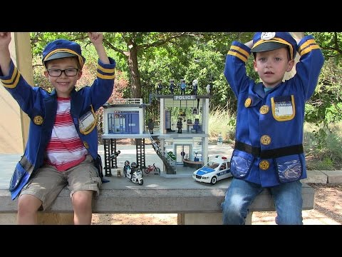 Playmobil Police Station Unboxing + Toy Review - Kid Police Kid Cops Lego Police Car Fun w/ Heroes!
