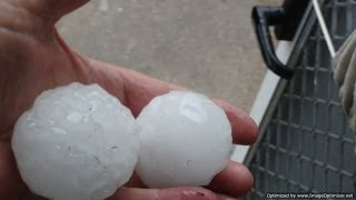 Huge Hail Stones Storm on  the Parade at Maroochydore Qld Australia