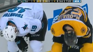 Joe Thornton and Adam McQuaid Exchange Blows