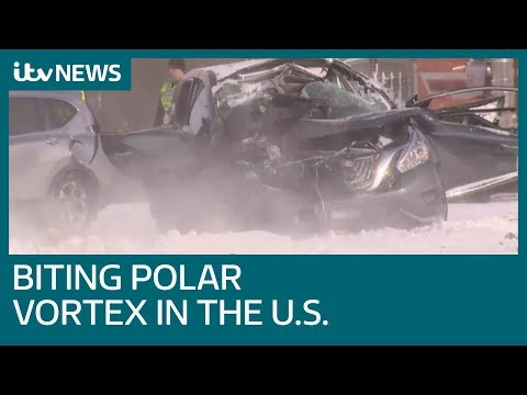 Road chaos in US Midwest as biting polar vortex brings -50C | ITV News
