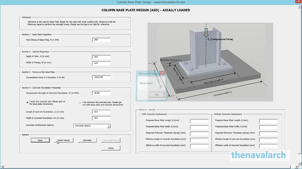 Base Plate Design App (www thenavalarch com)