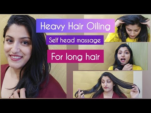 Heavy Hair Oiling for hair growth | Combing long hair and champi | Head massage with olive oil