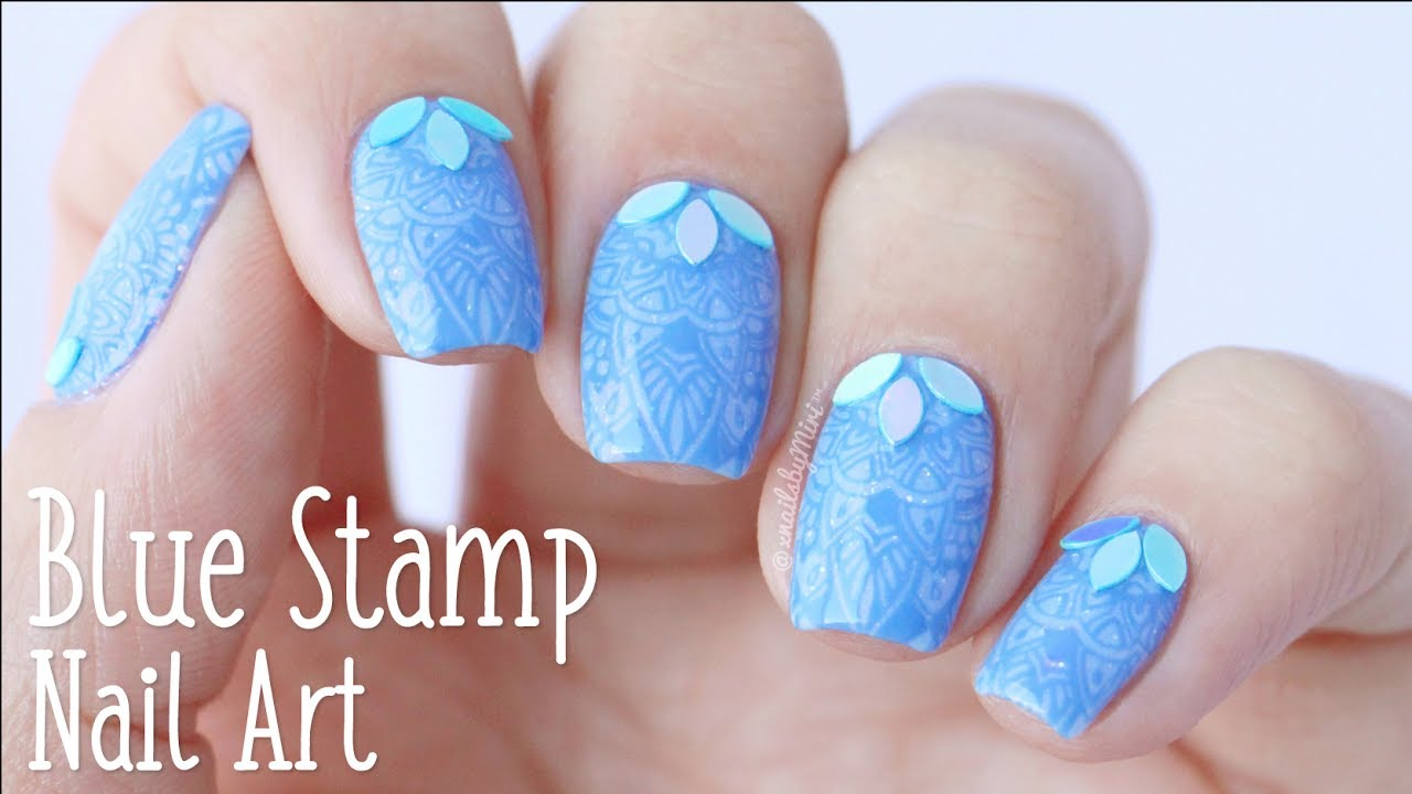Blue Nail Art Stamp Design Using Plate A010 By Whats Up Nails