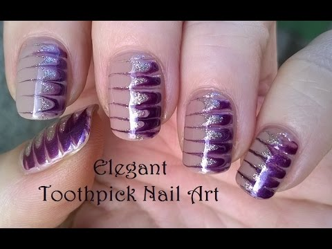 Toothpick Nail Art 4 Diy Elegant Melted Nails In Gold Amp Purple Youtube