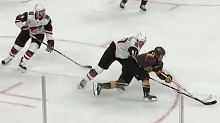 Vegas Golden Knights' Brendan Leipsic shows off some incredible foc...