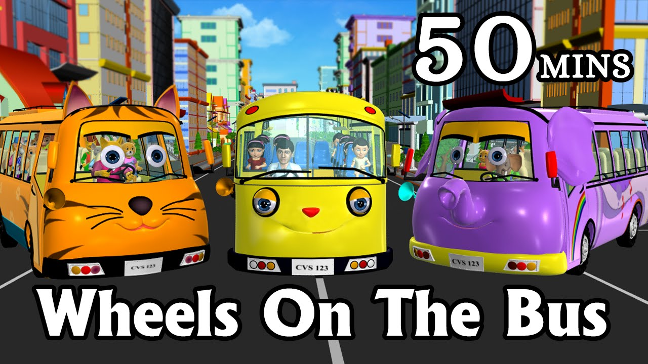 Wheels On The Bus Go Round And Round - 3D Animation Kids\' Songs ...