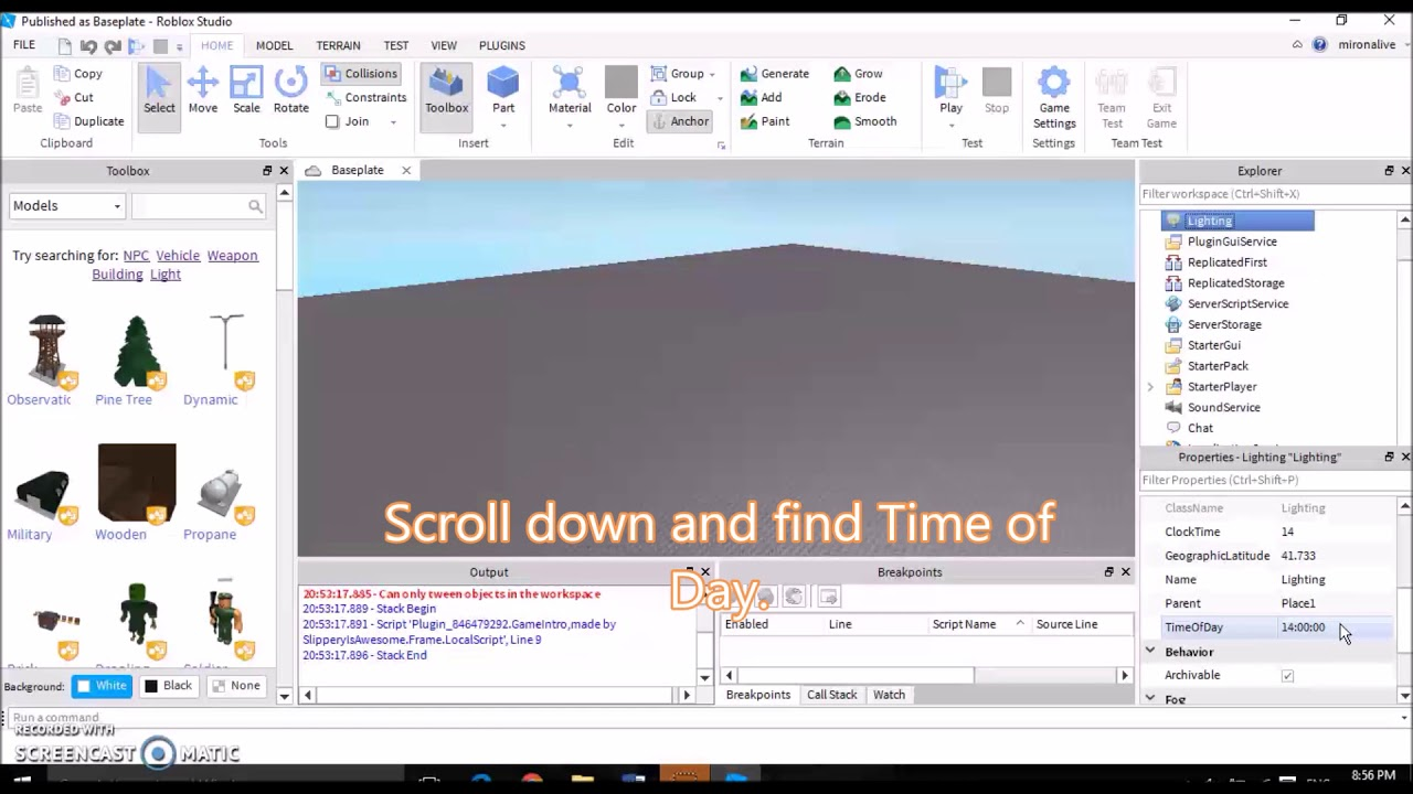 Roblox Studio How To Change The Time Of Day Youtube