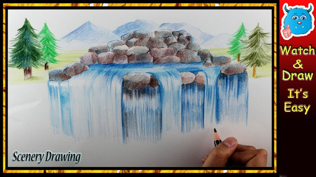 how to draw a waterfall with colored pencils