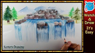 How to Draw Waterfall with Colored Pencils Easy Steps