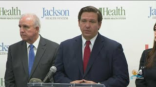 Gov. Ron DeSantis Holds Press Conference In Miami