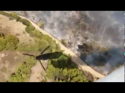 Aerial firefighting from a CH-47D (Chinook) at Kalyvia Thorikou, Athens Greece