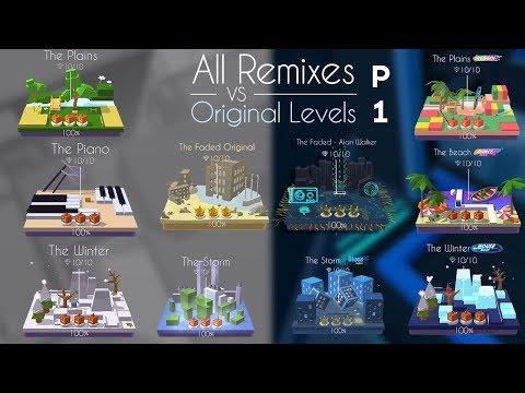 Dancing Line All Remixes VS Original Levels (Part 1) Faded, Beach(DR), Winter(HR) | SHAvibe