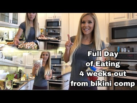 Bikini Competition Prep:  Ep. 9  Full Day of Eating and Meal Prep 4 weeks out