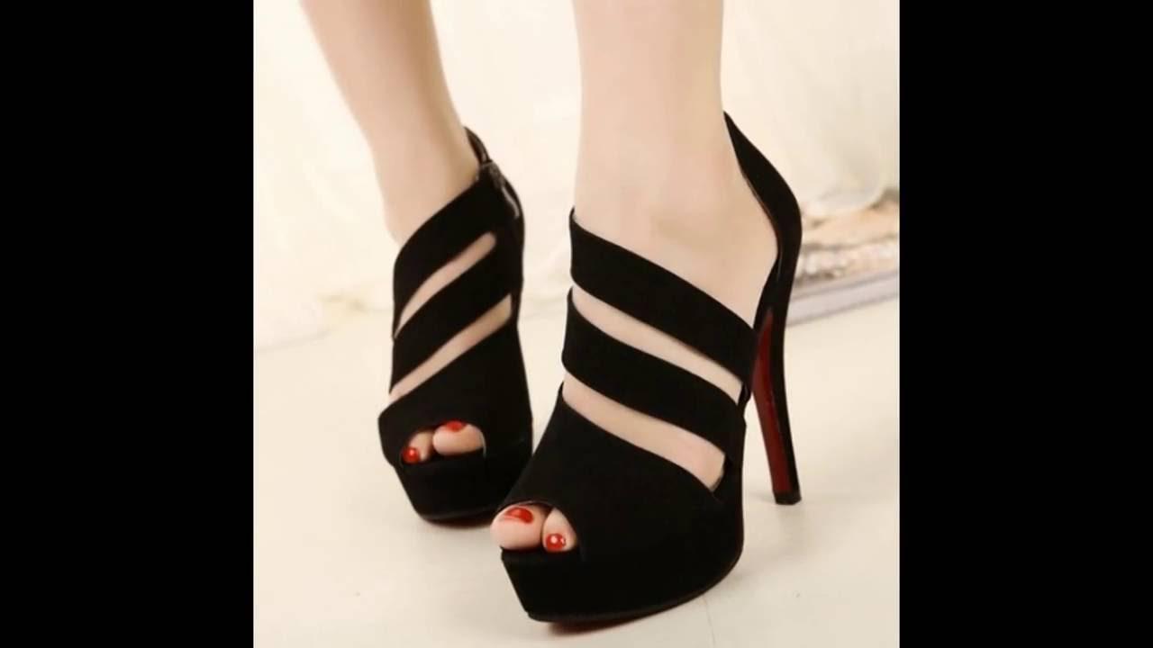 fab5d8c10 اشيك احذية كعب عالي اللون اسود حريمى جديدة 2017 - Most Stylish High Heel  Shoes Black New Women
