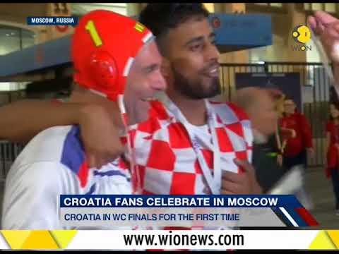 Jubilant Croatian fans celebrate their historic win over England