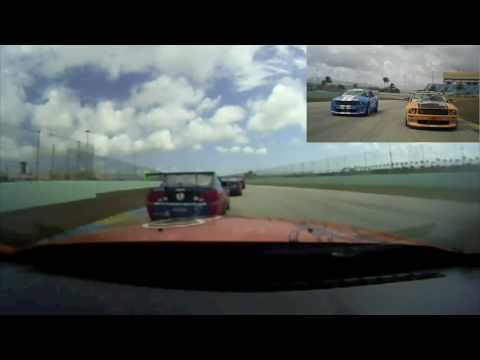 Pratt Cole & Rob Finlay mixing it up at Homestead in Mustang Challenge Race 1