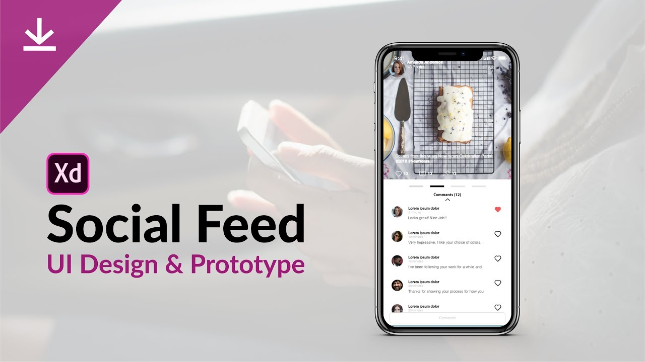 Social Feed UI design & Prototype + Xd file download