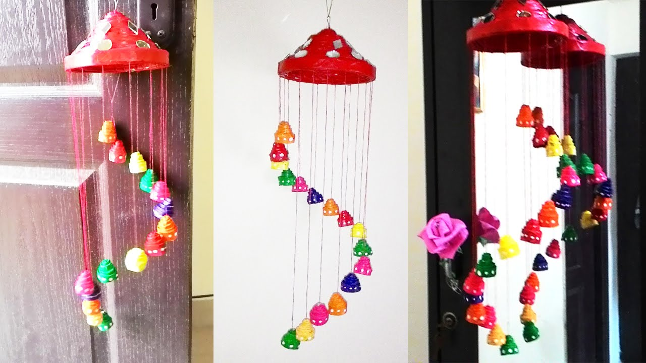 Newspaper wall hanging newspaper wind chime youtube for Handmade things from waste material for kids step by step