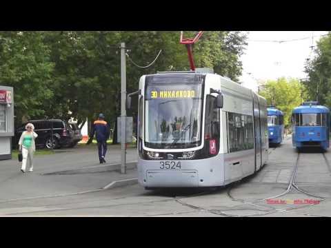 Трамваи в Краснопресненском депо в Москве - Trams in the NorthWest of Moscow.