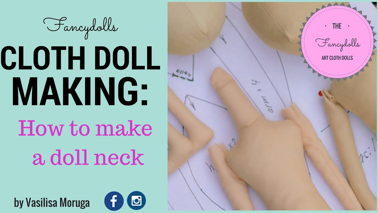 Cloth doll making: how to make a doll neck. - YouTube