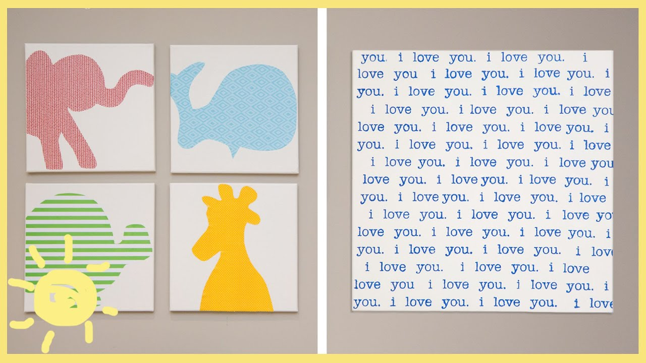 Diy canvas wall art youtube for Canvas prints childrens bedrooms