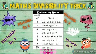 MATHS DIVISIBILITY TRICK! DIVISIBILITY TEST FOR ALL CLASSES.  TIME SAVING TRICKS