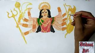 draw Goddess Durga - drawing in India - sahani art for you