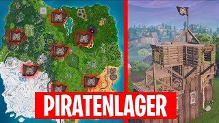 Besuche ALLE PIRATENLAGER ☆ ALLE 7 FUNDORTE ☆ Fortnite Battle Royale Deutsch