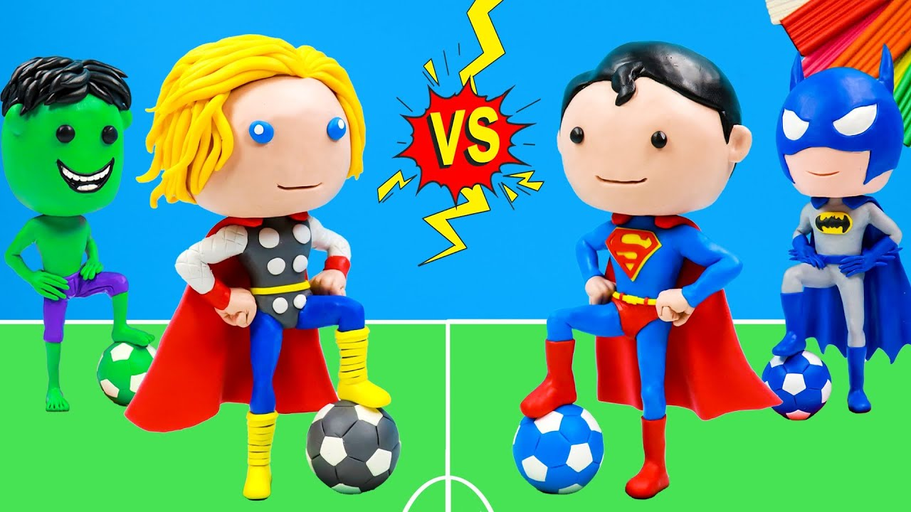 Superman vs Thor play football with clay 👽 Superheroes Marvel VS DC Comics 👽 Polymer Clay Tutorial