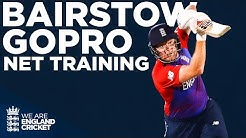 Jonny Bairstow wears a GoPro when Batting in the Nets T20 World Cup Training England Cricket